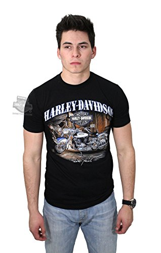 Harley-Davidson Mens Catch of the Day Motorcycle Scott Jacobs Black Short Sleeve T-Shirt - XL