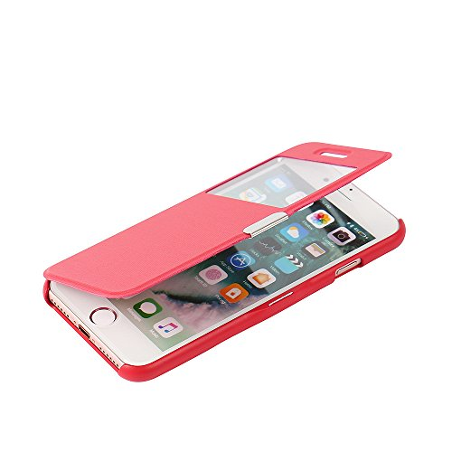 iPhone 7 Hülle, iPhone 8 Hülle, MTRONX Fenster-Ansicht Magnetisch Dünn PU Leder Folio Flip Klapphülle Etui Schutzhülle Tasche Case Cover für Apple iPhone 7 iPhone 8 - Rot(MW-RD)