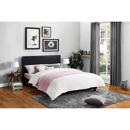 Amazon.com: Mainstays Modern Upholstered Bed Frame, Black Faux ...