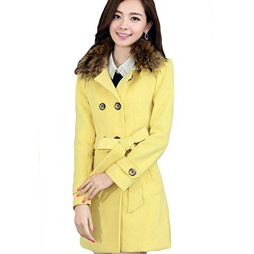 LOCOMO Women Wool Duffle Puff Shoulder Faux Fur Collar Pea Coat FFJ012YELXL (Coat Fur Collar Notched)
