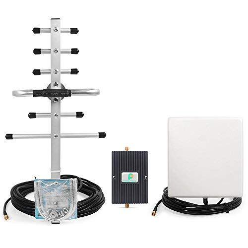 PROUTONE Dual band Cell Phone Signal Boosters GSM CDMA Cellular Repeater with Indoor Directional Panel and Outdoor Yagi Antenna 65dB Gain GSM 850 PCS 1900MHz (Gsm Repeater)