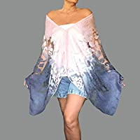 9211f8a5b1286 Pink And Blue Shawl Ombre Wrap Off The Shoulder Top By ZiiCi