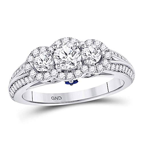 14kt White Gold Womens Round Diamond 3-stone Bridal Wedding Engagement Ring 1-1/5 Cttw ()