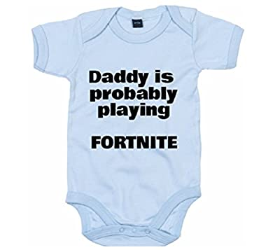Baby Onesie Co The Daddy is Probably Playing Fortnite Funny Infant Bodysuit (Blue, 6-12 Months)