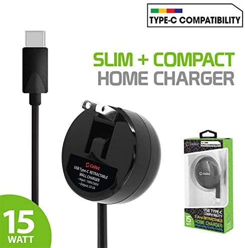 Compatible for RED Hydrogen One,Asus ZenFone V Live,Palm Palm,Sonim XP8,Razer Phone 2,BlackBerry KEYone,Essential Phone Cellet Type-C Powerful Fast Charging Wall Charger Compact Retractable 3A//15W