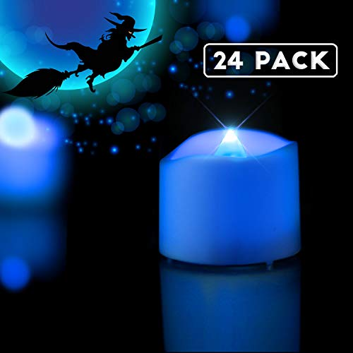 Blue Led Candles (Homemory LED Tea Lights Candles, Set of 24 Flickering Flameless Tea Candles, Long-Lasting Battery Operated Tea Lights, Indigo Blue Electric TeaLight (White Base), 1.4'' W X 1.25'')