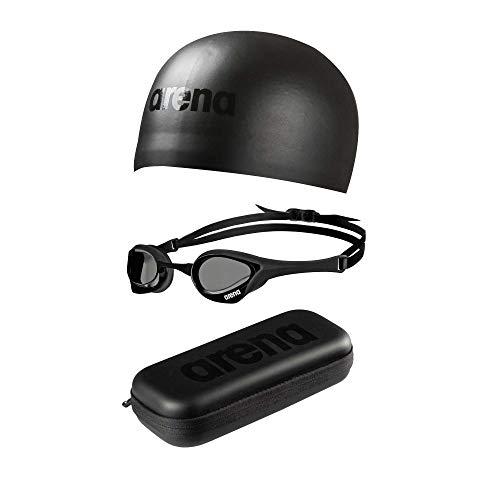 - Arena Triple Black Race Set - Includes Cobra Ultra Goggles, 3D Moulded Swim Cap, Goggle Case, Black/Black