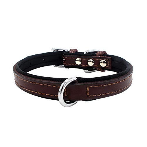 LeSharp Adjustable Faux Leather Pet Dog Collar, Soft Padded Round Puppy Handmade Genuine Leather for Dog Small Large Cat Collars Brown L