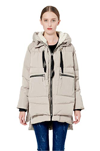 Orolay Women's Thickened Down Jacket Beige L (Best Place To Shop For Womens Business Casual)