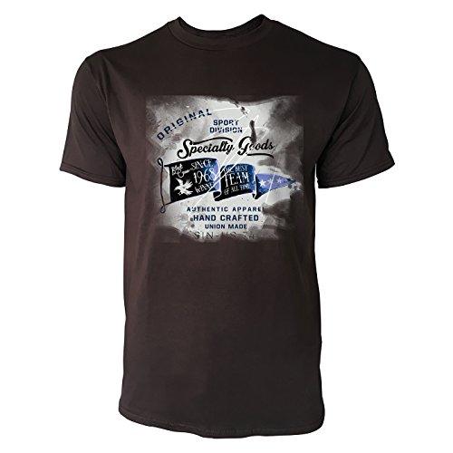 SINUS ART® Original Trademark Sport Authentic Apparel Herren T-Shirts in Schokolade braun Fun Shirt mit tollen Aufdruck