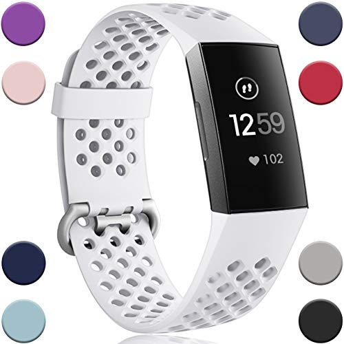 Wepro Bands Replacement Compatible Fitbit Charge 3 for Women Men Small, Waterproof Breathable Holes Watch Sport Strap Accessories for Fitbit Charge 3 SE Fitness Tracker, White