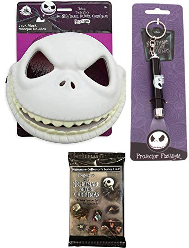 Project Jack Mask NBC Nightmare Before Christmas Pack Dress Up Jack Skellington Pumpkin King Mask + Spooky Projector Flashlight with Movie Trading Cards Bundle]()