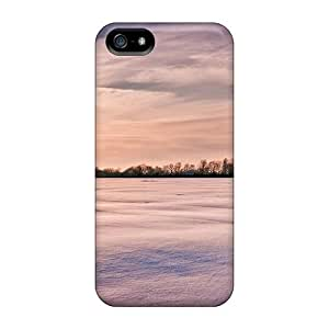 Ultra Slim Fit Hard Mialisabblake Case Cover Specially Made For Iphone 5/5s- White Carpet Over Fields In Winter