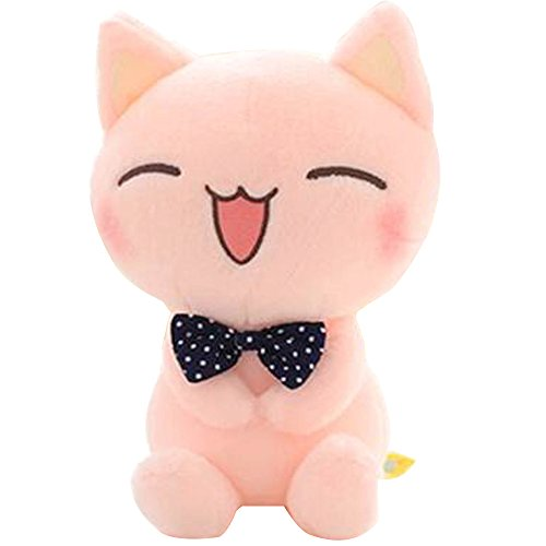 "ECTY Cute Stuffed Plush Doll, 11"" Sitting Height Soft Stuffed Pink Cat Plush Toy"