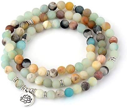 Pulseras De Mujer Mate Esmerilado Amazonita Loto Encanto Pulsera Yoga 108 Mala Collar Tamaño Alrededor De 79Cm-80Cm