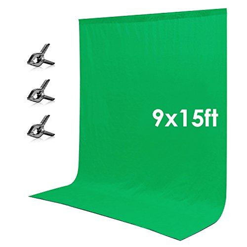Neewer 9 x 15 feet/2.7 x 4.6 meters Green Chromakey Muslin Backdrop Background Screen with 3 Clamps for Photo Video Studio Photography by Neewer
