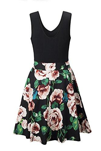 Yidarton Women's Summer Casual V Neck Flare Floral Contrast Evening Party Short Mini Dress Black S by Yidarton (Image #2)