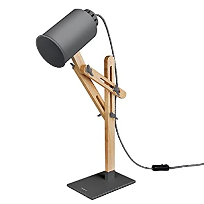 [NEW]Tomons Wood Desk Lamp, LED Bulb E26/27, Muti-Angle Adjustable Suitable For Study Work
