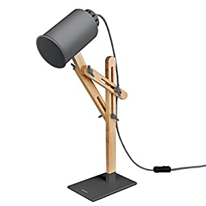 Wooden reading lamp turned off