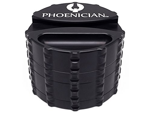 Phoenician Herb Tobacco Spice Grinder with Paper Dispenser - 4 Piece Anodized Aluminum Set - Official Medical Grade Phoenician Grinders - Made in USA - Large (Jet Black) (And Tobacco Grinder Spice)