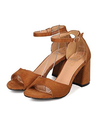 Alrisco Women Faux Suede Block Heel Sandal - Ankle Strap Heel - Open Toe Chunky Heel - GI40 by Tan Faux Suede fr9TMR6