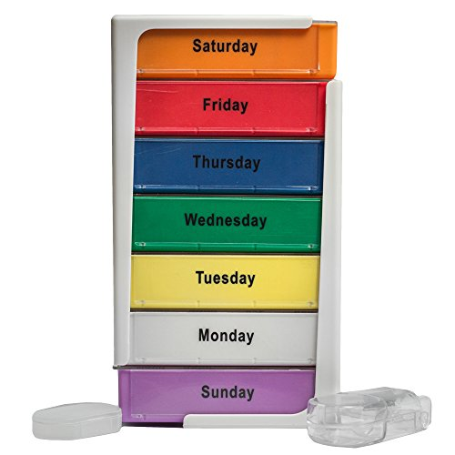 Extra Large 7-Day Stackable Weekly Pill Box Organizer with Splitter – XL Tower Travel Medication Organizer – Morning Noon Afternoon Night Compartments from Stuff Seniors Need