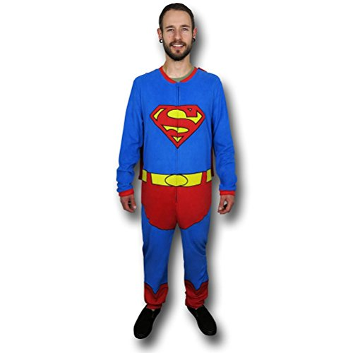 Superman Full Body Union Suit Caped Pajama (Adult Small)