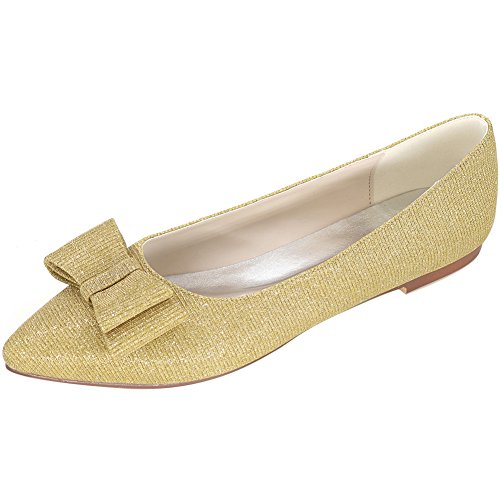 Loslandifen Womens Elegant Glitter Pionted Toe Wedding Ballet Flats Dress Shoes(2046-09C36,Gold)
