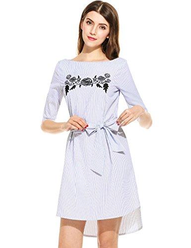 Angvns Col Bateau Féminin Robe Chemise Rayée Bleu Floral Brodé