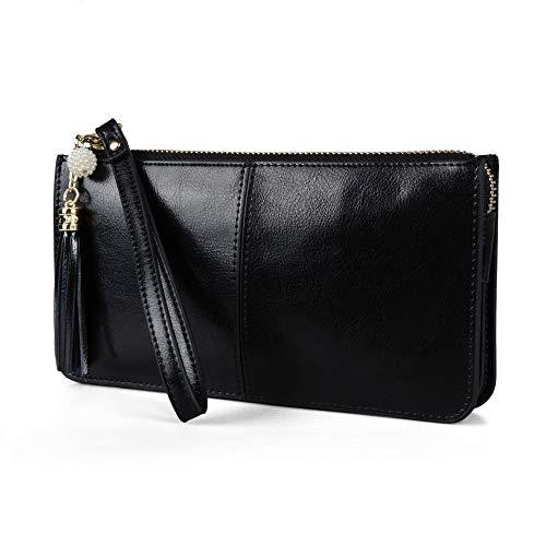Befen Women Leather Zipper Phone Wallet with Card Holder/Cash Pocket/Wrist Strap (Black.) ()