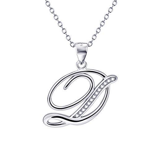 (YFN S925 Sterling Silver Cubic Zirconia 26 Letters Alphabet Pendant Necklace (Alphabet D))