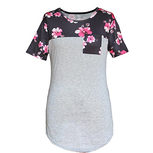 Price comparison product image XUANOU Womens Splice Floral Printed Pocket Round Neck Pullover Blouse Tops T Shirt (Small)