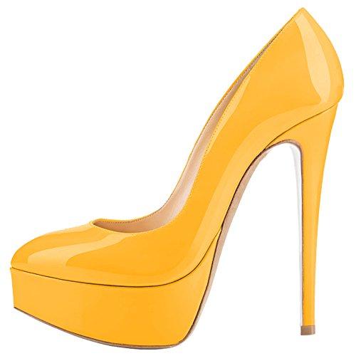 Abendschuhe Pumps Mischfarben AOOAR Gelb Stiletto Plateau Lackleder Damen InwgO