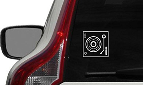 DJ Turntable Version 1 Car Vinyl Sticker Decal Bumper Sticker for Auto Cars Trucks Windshield Custom Walls Windows Ipad Macbook Laptop and More White Color