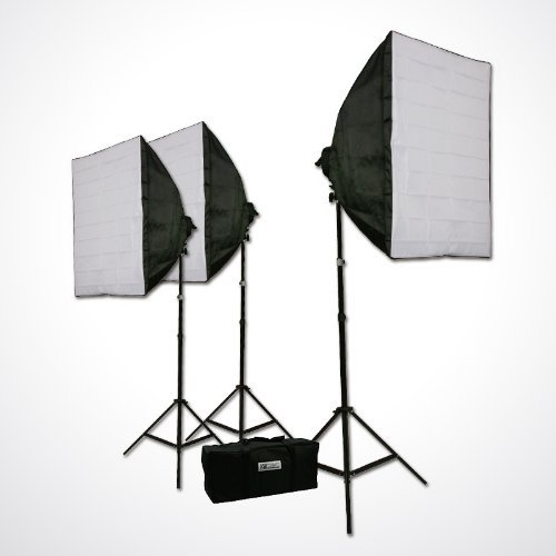ePhoto LH9004S3 2400 watt 3 Softbox Video Studio Photo Lighting with Case for ChromaKey Photography Video by ePhoto