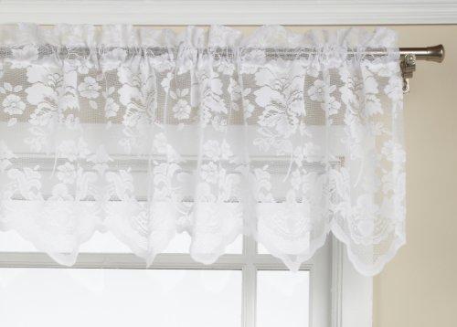 LORRAINE HOME FASHIONS Floral Vine 60-inch x 18-inch Valance, White ()