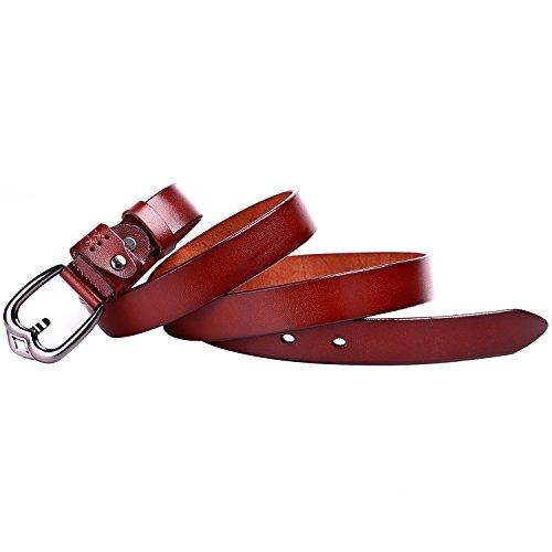 Beltox Fine Women's Full Grain Leather Belt Prong Buckle 22MM Solid Waist Belts (40-42, brown)