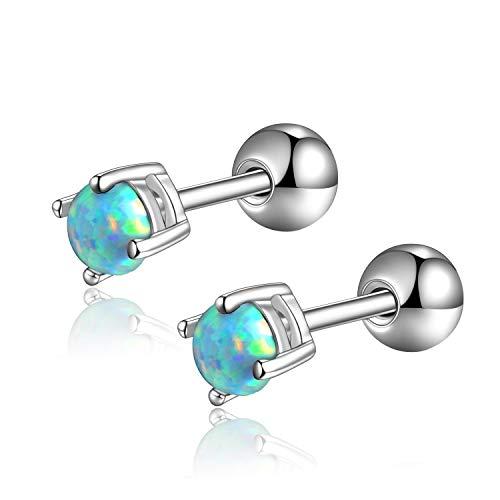 (Candyfancy 5mm Opal Stud Earrings 316L Surgical Steel Cartilage Piercing Barbell Earrings Green Stone Earrings )