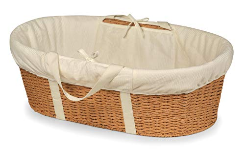 Badger Basket Wicker-Look Woven Baby Moses Basket with Bedding, Sheet, and Pad, Natural/Ecru ()