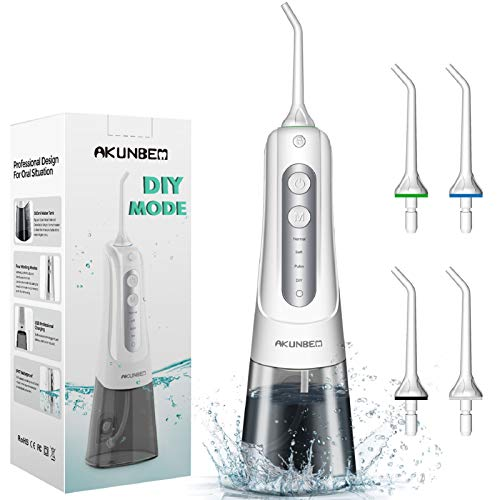 Water Flosser, Akunbem Professional Water Flosser Cordless with DIY Mode Portable Rechargeable Dental Oral Irrigator 300ML IPX7 Waterproof Water Flossing for Home Travel