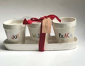 Rare Rae Dunn por Magneta Juego de olla de 3y bandeja de Navidad Joy deseo y paz en colores Holiday gráfica Impresión Flores Juego de macetas con lazo rojo de Navidad.
