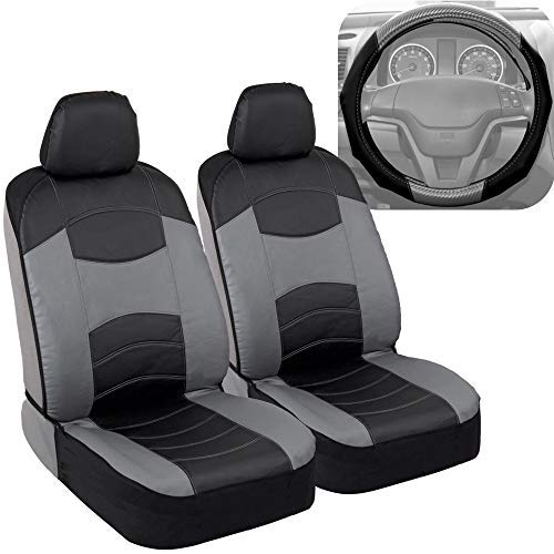 Blazer Chevrolet Seats - BDK v-Leather Car Seat Covers & Steering Wheel Cover for Auto Care - Synthetic Leather Material - Carbon Fiber Accent Steering - Front Seat Coverage Protection (Slate Gray)