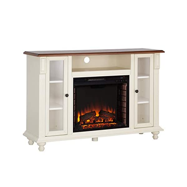 Southern Enterprises Carlinville Electric TV Stand fireplace, White