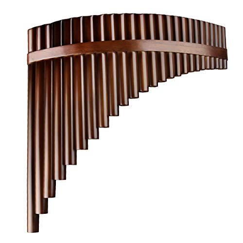 22/25 Pipes C Key Professional Pan Flute Chinese Traditional Musical Instrument Pan Pipes Easy to Learn with Exquisite Brown Pan Pipes Flute and Black Leather Bag (25-Right Hand)