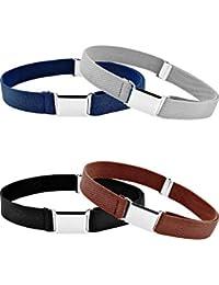 4 Pieces Kids Buckle Belt Kid Adjustable Elastic Belt Boy Stretch Belt for Children Favor