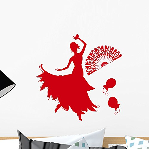 Silhouette Flamenco Dancer with Wall Mural by Wallmonkeys Peel and Stick Graphic (18 in H x 18 in W) WM78959