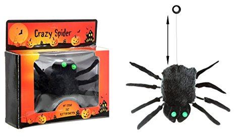 Drop Down Spider - Animated Drop Down Black Halloween Spider