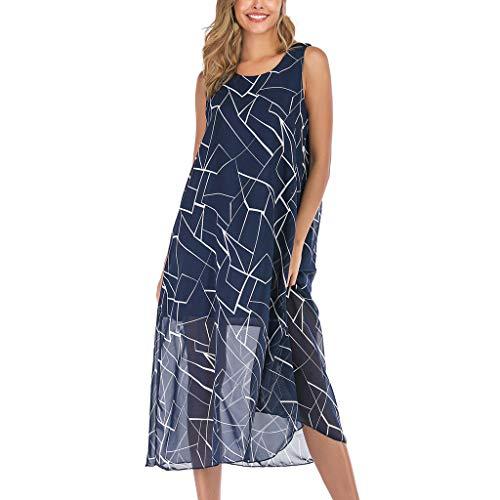 Dress Casual Loose Long Dress Sleeveless Split Maxi Dresses Summer Casual Boho Floral Print Beach Style Dress Swing Dress Women (L,18- Blue) ()