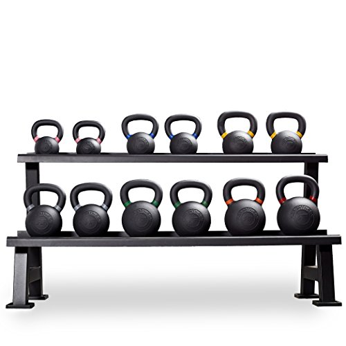 Rep Kettlebells for Strength and Conditioning, Fitness, and Cross-Training - LB and KG Markings - Kettlebell Available (U: 8-32kg set with Rack)