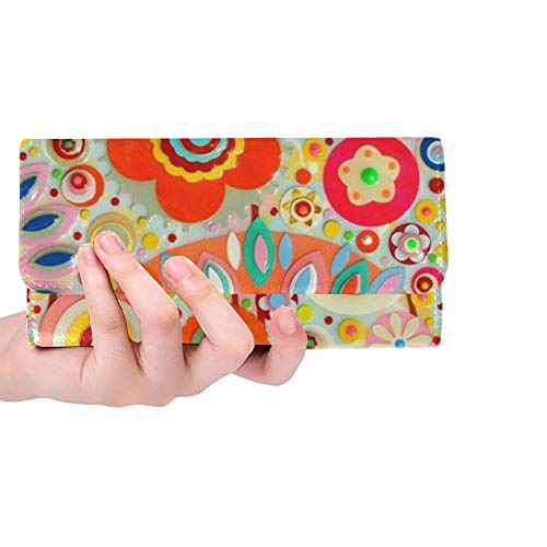Unique Custom Abstract Colourful Art Acrylic Art Painting Women Trifold Wallet Long Purse Credit Card Holder Case Handbag